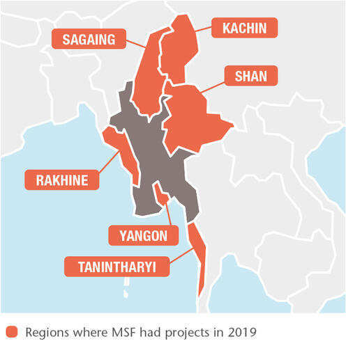 Myanmar MSF projects in 2019