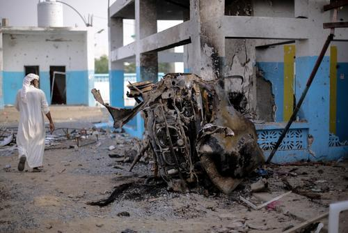 Abs hospital airstrike aftermath, Hajjah, Yemen