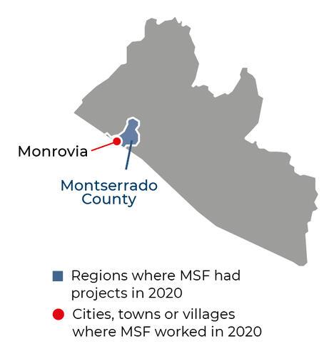 Map of MSF activities in 2020 in Liberia