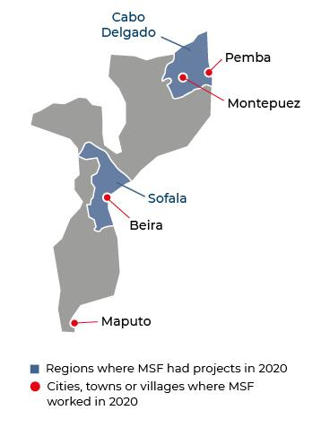 Map of MSF activities in 2020 in Mozambique
