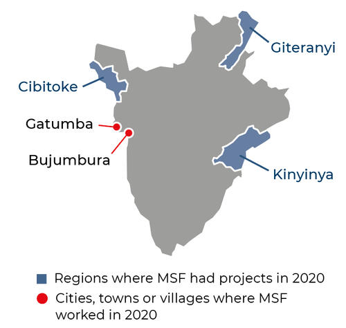 Map of MSF activities in 2020 in Burundi