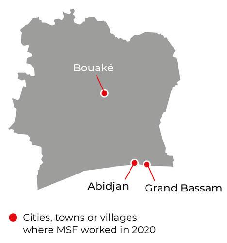 Map of MSF activities in 2020 in Côte d'Ivoire