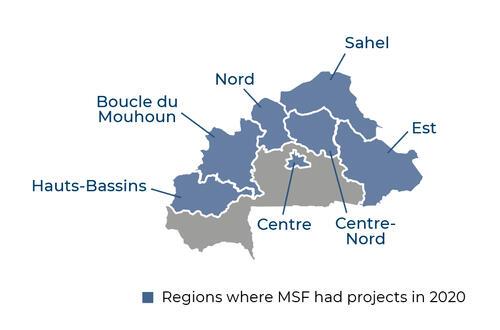 Map of MSF activities in 2020 in Burkina Faso