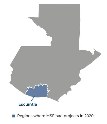 Map of MSF activities in 2020 in Guatemala