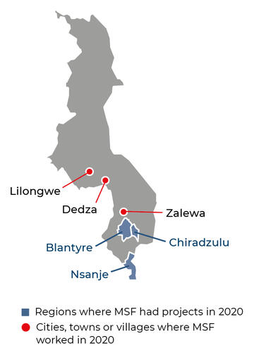 Map of MSF activities in 2020 in Malawi
