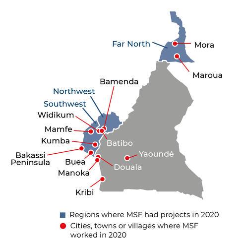 Map of MSF activities in 2020 in Cameroon