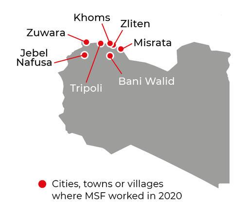 Map of MSF activities in 2020 in Libya