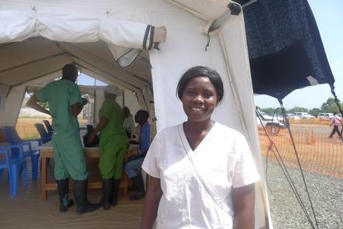 Ebola survivor turned caretaker at MSF's Elwa 3, Monrovia