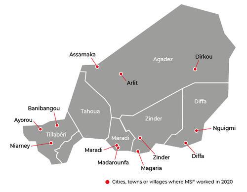 Map of MSF activities in 2020 in Niger
