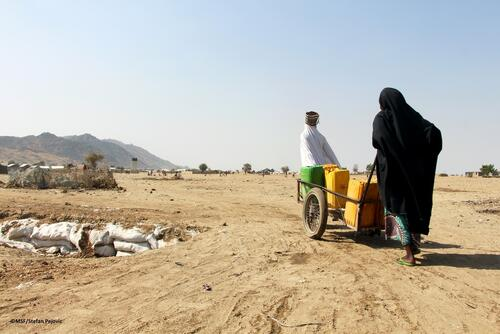 Carrying water from boreholes in Pulka IDP camp