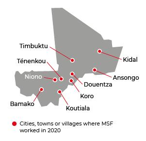 Map of MSF activities in 2020 in Mali