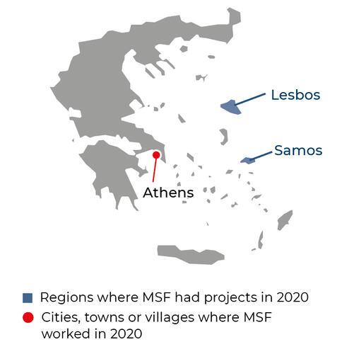 Map of MSF activities in 2020 in Greece