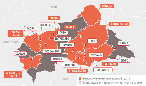 CAR (Central African Republic) MSF projects in 2019