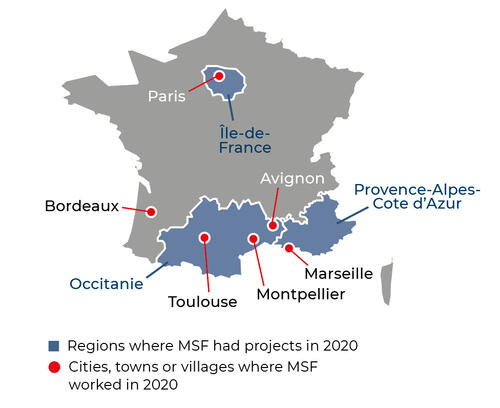 Map of MSF activities in 2020 in France