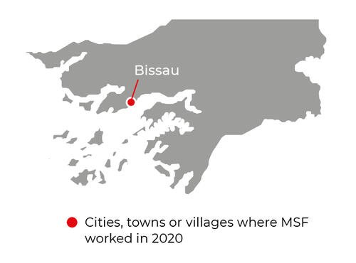 Map of MSF activities in 2020 in Guinea-Bissau