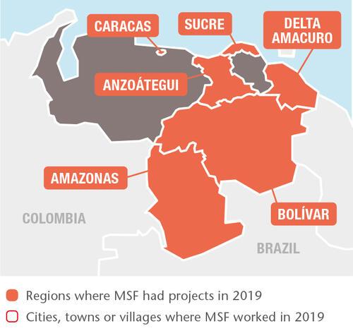 Venezuela MSF projects in 2019