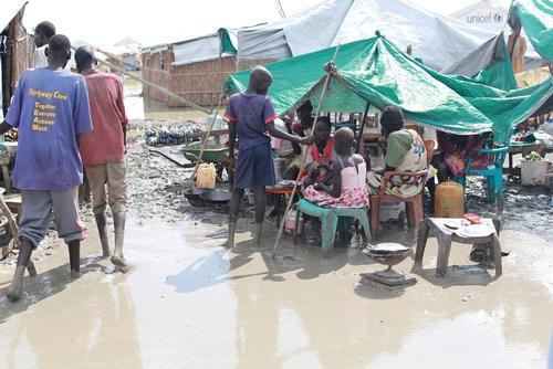 Bentiu South Sudan - Floods inside the UN Internally Displaced People's camp