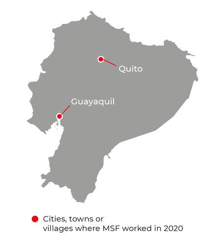 Map of MSF activities in 2020 in Ecuador