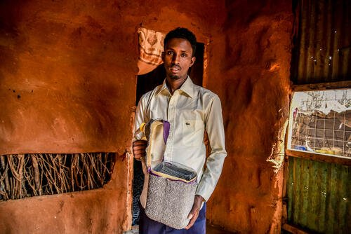 Mohamed Hussein Bule, 27, lives with Type 1 diabetes. He is a refugee and teaches in one of the schools in Dagahaley.