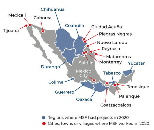 Map of MSF activities in 2020 in Mexico