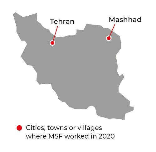 Map of MSF activities in 2020 in Iran