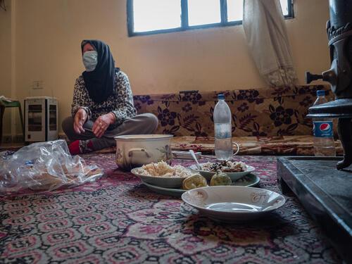 Fawziyya Al-Sahili in her living room