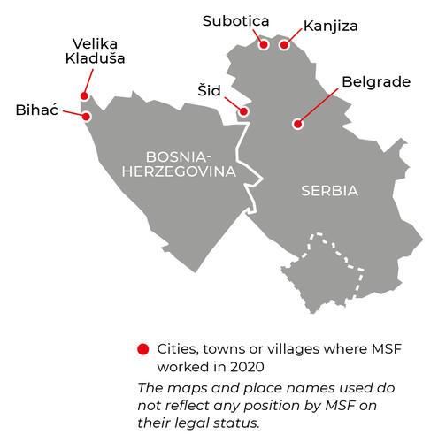 Map of MSF activities in 2020 in the Balkans