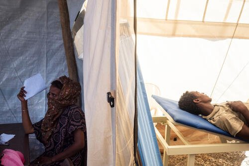 Al Hashaba transit camp for refugees from Ehtiopian Tigray Region
