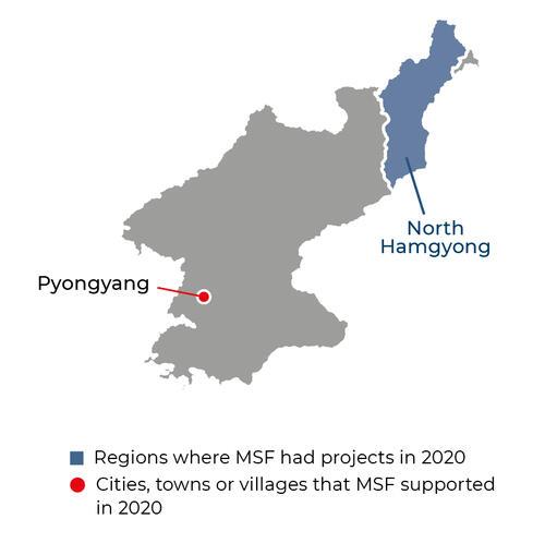 Map of MSF activities in 2020 in Democratic People's Republic of Korea