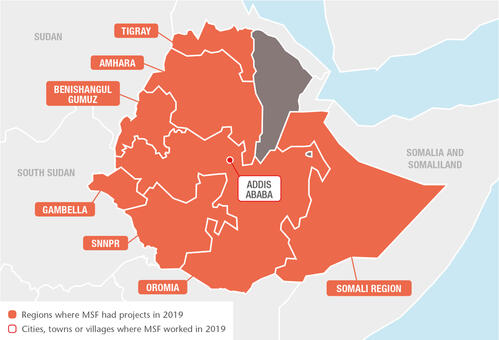 Ethiopia MSF projects in 2019