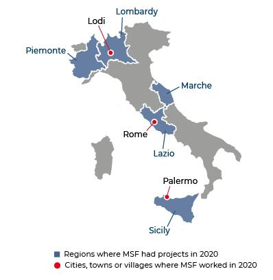 Map of MSF activities in 2020 in Italy