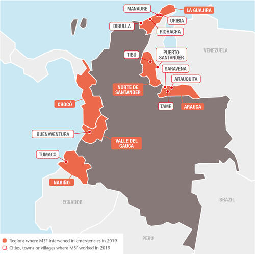 Colombia MSF projects in 2019