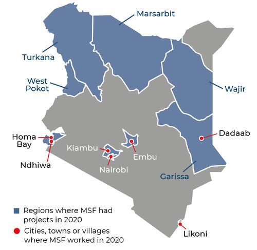 Map of MSF activities in 2020 in Kenya