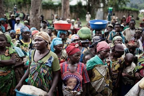 Democratic Republic of Congo, September 2013: People waiting for a distribution of aid in Mweso, North Kivu