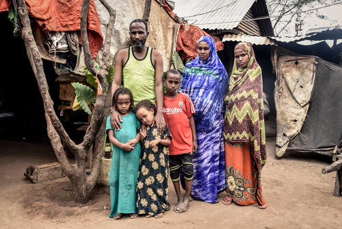 Abdo and his family in their home in Dagahaley camp