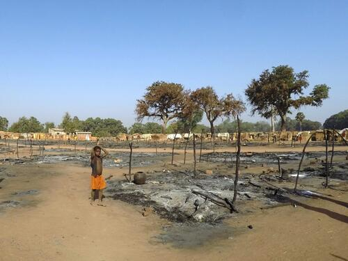 Batangafo IDP camp fire