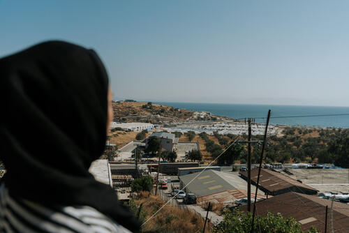 Mariam*, a woman originally from Afghanistan, who lives in Lesbos for two years.
