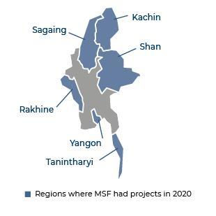 Map of MSF activities in 2020 in Myanmar