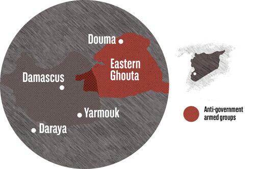 Syrienkarte - Damaskus & Ghuta