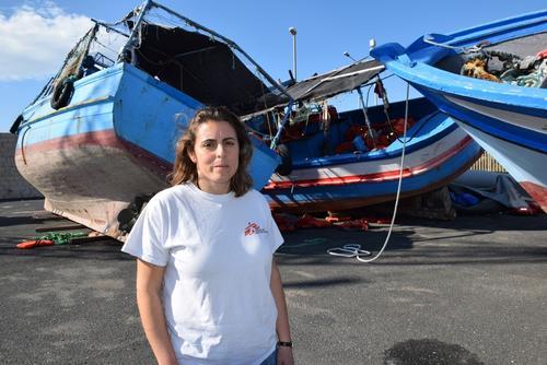 Boats from migrants arrival at Pozzallo Italy