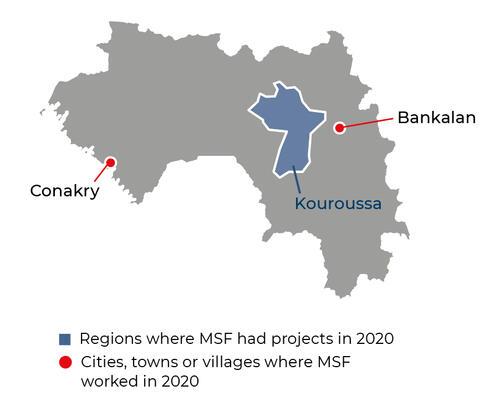Map of MSF activities in 2020 in Guinea