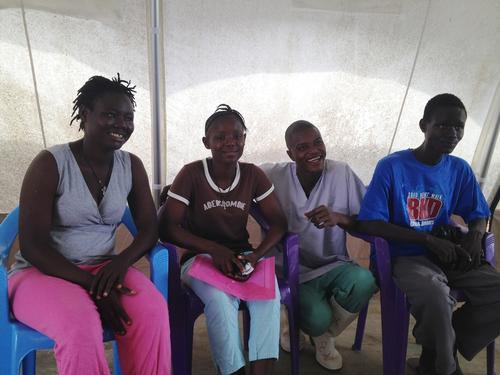 Ebola survivors with nurse in MSF centre in Bo