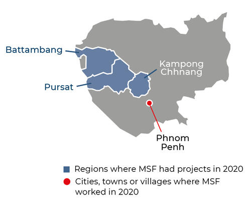 Map of MSF activities in 2020 in Cambodia
