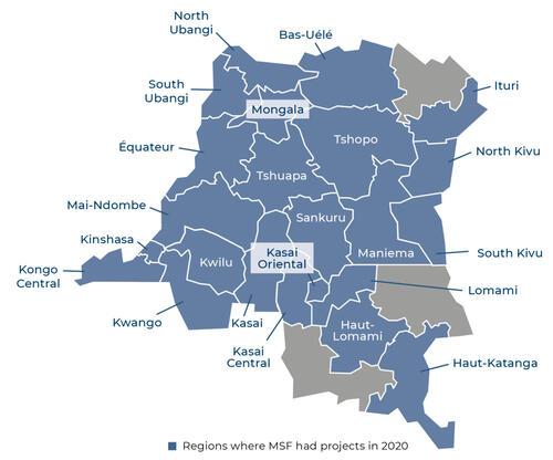 Map of MSF activities in 2020 in the Democratic Republic of Congo