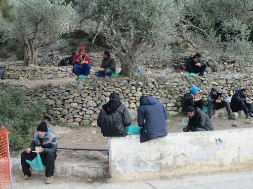 Refugee camp in Samos, Greece