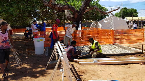 Building a cholera treatment centre in Mozambique's Cabo Delgado province in the wake of Cyclone Kenneth