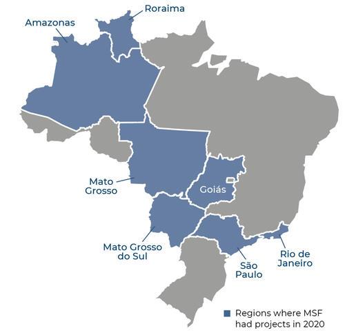 Map of MSF activities in 2020 in Brazil