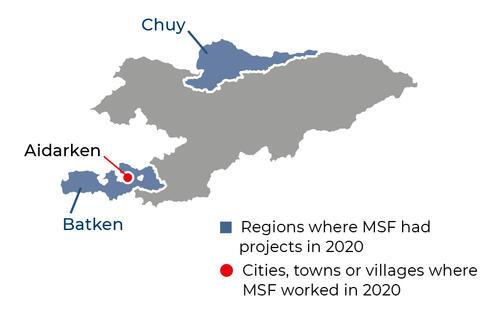 Map of MSF activities in 2020 in Kyrgyzstan
