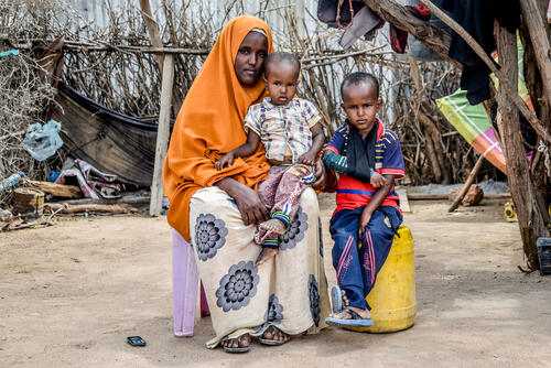 Fatuma Bare and her two children who live with diabetes