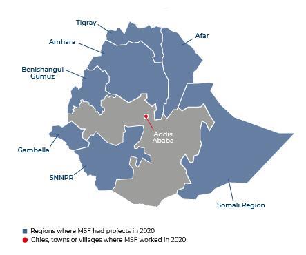 Map of MSF activities in 2020 in Ethiopia